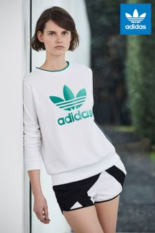 adidas Originals White/Green EQT Sweat Top