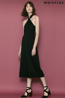 Whistles Black Sophia Satin Knotted Jumpsuit