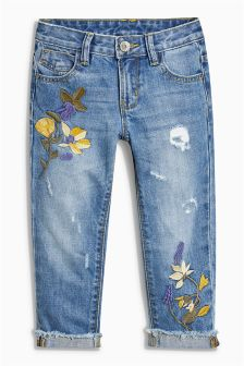 Embroidery Relaxed Skinny Jeans (3-16yrs)