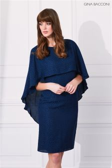 Gina Bacconi Navy Lightweight Animal Jacquard Dress