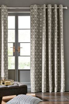 Dove Triangle Woven Geo Eyelet Curtains
