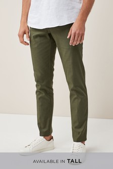 Stretch Linen Blend Trousers