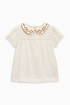 Embroidered Collar Short Sleeve Blouse (3mths-6yrs)