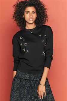 Embellished Insect Technical Sweatshirt