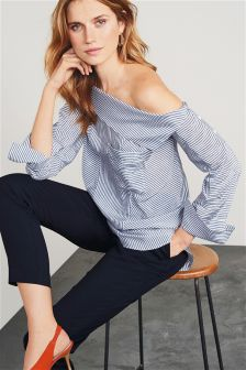 Cowl Neck Striped Shirt