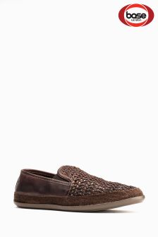 Base London Brown Weave Slip-On Shoe