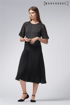 Warehouse Black Lace Insert Pleated Midi Dress