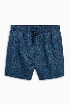 Blue Geo Print Swim Shorts