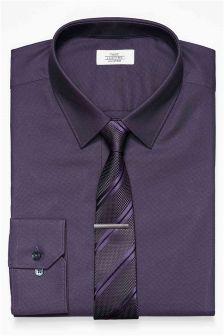 Textured Tonic Regular Fit Shirt And Tie Set