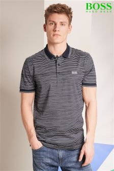 Hugo Boss Green Navy Striped Paddy Poloshirt