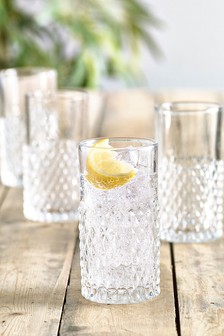 Set Of 4 Diamond Embossed Tumblers