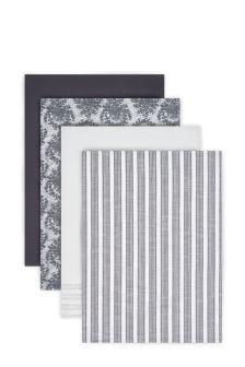 Set Of 4 Grey Tea Towels