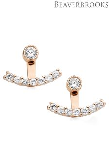 Beaverbrooks Silver Rose Gold Plated Cubic Zirconia Earring Jackets
