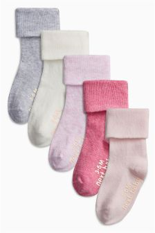 Roll Top Socks Five Pack (Younger Girls)