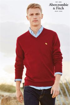 Abercrombie & Fitch Burgundy V-Neck Knit