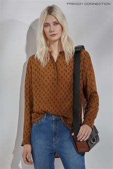 French Connection Tan Rossine Voile Popover Top