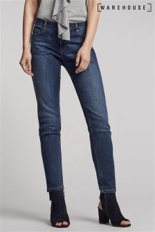 Warehouse Mid Wash Relaxed Skinny Jean