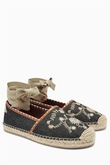 Embroidered Wrap Espadrilles