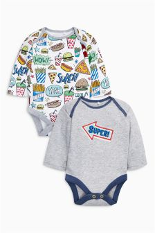 Badged Long Sleeve Bodysuits Two Pack (0mths-2yrs)