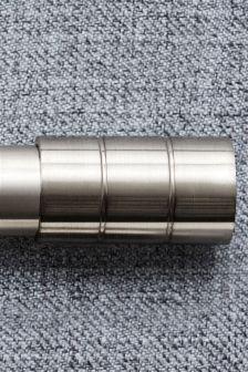 Brushed Silver Barrel 19mm Diameter Extendable Curtain Pole Kit