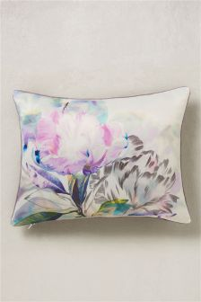 Floral Printed Cushion With Velvet Backing