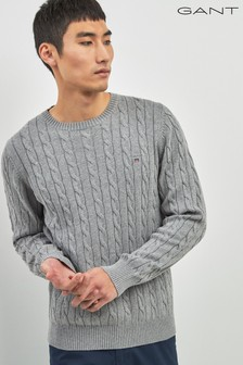 Gant Grey Crew Neck Knit Jumper