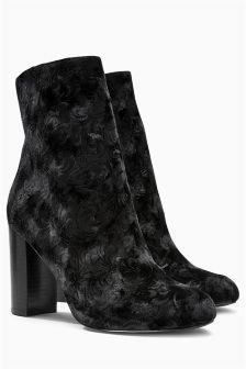 Velvet Block Heel Boots