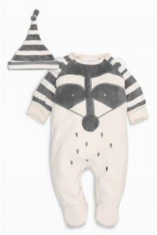 Fleece Raccoon Hat And Sleepsuit Set (0mths-2yrs)