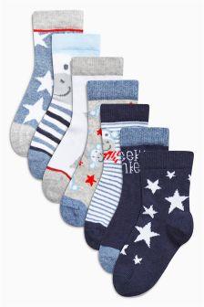 Blue Monkey Star Socks Seven Pack (Younger Boys)