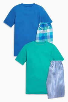 Check/Stripe Short Pyjamas Two Pack (3-16yrs)