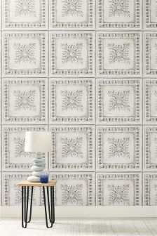 Paste The Wall White Tin Tiles Wallpaper