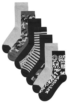 Camouflage Slogan Socks Seven Pack (Older Boys)