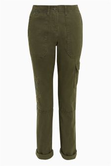 Embroidered Cargo Trousers