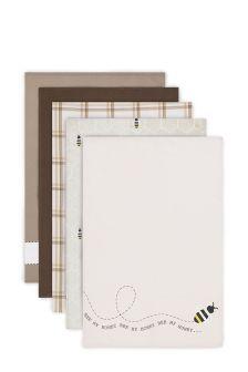 5 Pack Neutral Bee Tea Towels