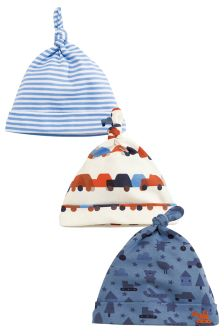 Digger Print Tie Top Hats Three Pack (0-18mths)