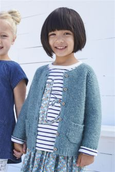 Round Neck Brushed Knit Cardi (3mths-6yrs)