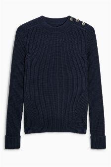 Rib Button Sweater
