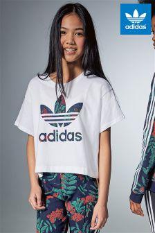 adidas Originals White Crop Trefoil T-Shirt