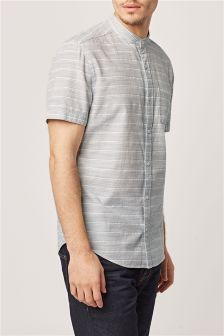 Short Sleeve Textured Grandad Shirt