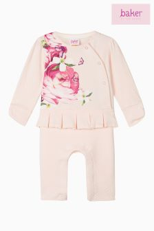 Baker by Ted Baker Pink Placement Print Mockable Romper Suit