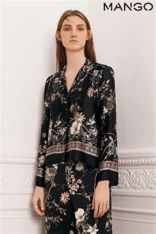 Mango Black Floral Print Pyjama Shirt