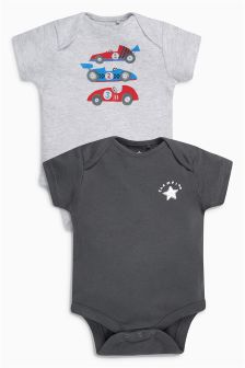 Racing Driver Short Sleeve Bodysuits Two Pack (0mths-2yrs)
