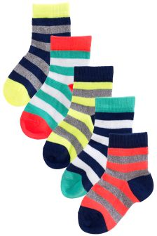 Fluro Stripes Socks Five Pack (Younger Boys)