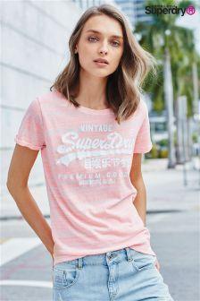 Superdry Candy Coral Premium Goods Boyfriend Tee