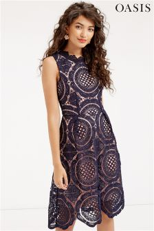 Oasis Navy Chartreuse Lace Dress