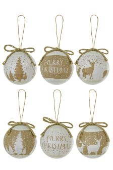 Set Of 6 Natural Design Decoupage Baubles