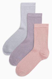 Lurex Sparkle Socks Three Pack (Older Girls)