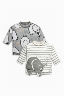 Elephant T-Shirts Two Pack (0mths-2yrs)