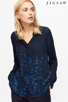 Jigsaw Petrol Floral Silk Shirt
