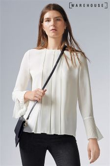 Warehouse Cream Box Pleat Top